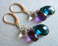"These were originally a custom designed piece that I loved so much I have put them onto the site.  Beautiful faceted teardrop amethyst, teardrop rock crystal quartz and london blue quartz are suspended from sterling links and leverback earwires. If you prefer french ball earwires just let me know at checkout.  These are apprx. 1/2"" in length.  They coordinate with the Dripping with Jewels necklace."