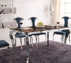kitchen furniture: stainless steel frame table with chair for dining room