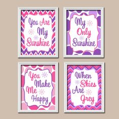 Girl Pink Purple Pattern You Are My Sunshine Quote Nursery Song Print Artwork Set of 4 Prints Wall Decor Art Picture