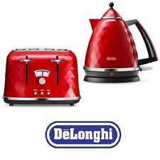 Electric Kettle and Toaster Sets Delonghi Brillante 4 Slice Toaster & Kettle Red