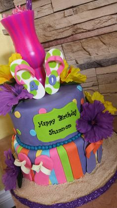 Flip flop, summer, beach themed birthday cake by Sweet Blessings by Lou!