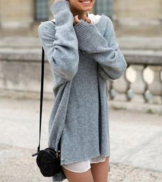 Oversized sweater and tunic length white buttonup with small structured black messenger bag