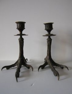 pair of antique bronze talons - bird feet - candle holders by RetroDecoShop.