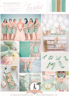 Mint, Blush Pink & Gold Wedding Inspiration | Bridal Musings  The EXACT colors I've wanted my whole life except with some silver
