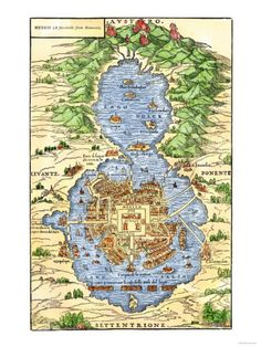 Map of Tenochtitlan. Would love to have maps like this in my house; paying homage to old dynasties that I love studying...