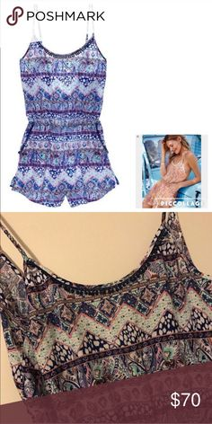 Victoria's Secret Paisley boho beach romper 💜 NWOT Victoria's Secret Paisley print with tassels romper white blue pink and multi color print super cute for a beach cover up or to wear out in the summer & spring 💖💙 best fits small - medium 💙 ordered online so no tags - I have a 34C chest and there's room 💕vs pink beach wild fox babe ocean summer romper tassels top shop alternative dollskill girly trendy Brandy Melville LA cali sunny 90s babe Victoria's Secret Pants Jumpsuits & Rompers
