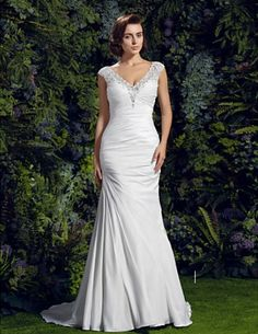 Lanting Bride® Trumpet / Mermaid Petite / Plus Sizes Wedding Dress - Chic & Modern Court Train V-neck Charmeuse with Appliques / Beading 2017 - Mermaid Trumpet Wedding Dresses, Lace Wedding Dress, Mermaid Dresses, Mermaid Wedding, Lace Mermaid, Ivory Wedding, Cheap Wedding Dresses Online, Wedding Dresses For Sale, Bridal Dresses