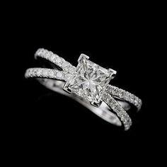 Jewellery : Platinum 950 Split Shank Diamond Princess Cut Engagement Ring Mounting