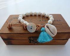 gypsy mermaid knotted bracelet  beach bracelet turquoise tassel cowrie shell bracelet by beachcomberhome, $28.00