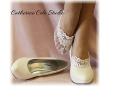 Lace socks for heels white  lace great for bridal wedding shoes lace slippers footlets lace peep socks bridesmaids flats Catherine Cole. $10.99, via Etsy.