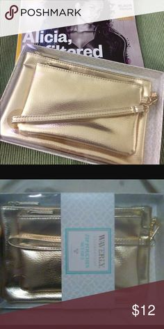 Pouches Gold set of two pouches great for night out or make up storage Large sz 7.75 L 5in H Small sz 6.25 L 4in H First picture actual items in stock Waverly Celebrations Other