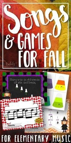 Elementary Music - Songs and Activities for Fall and Halloween: Get your music lesson plans ready for fall and Halloween with all of these fun songs, games and visuals! This set is packed full of songs and activities specifically geared toward the fall and Halloween in the elementary music classroom. Kodaly / Orff / Fall / Autumn / Singing Games / Elementary music ideas