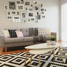 #DecorSpotting - A photo gallery wall could be the highlight of your living room. Make sure you choose a healthy mix of candid and 'pos-ey' shots and then stick to a theme. Like @my_home_14's black and white style!