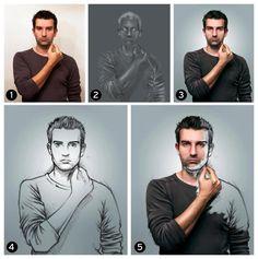 sketch how-to photo manipulation image self-portrait by Sebastien del Grosso