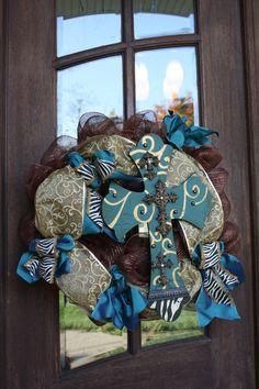 Zebra and Scroll Print Cross Mesh Wreath 24 by CellaJaneCreations, $75.00