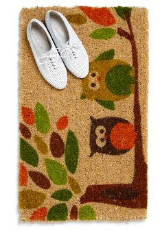 This would be fun with my living room rug Cute Door Mats, Owl Door, Skull Pumpkin, Forest Decor, Home Fix, Home Design Plans, Room Rugs, Home Gifts, Home Furnishings