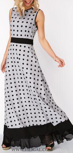 Dot Print Sleeveless High Waist Maxi Dress #liligal #dresses #womenswear #womensfashion