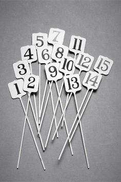 Cashier Key Table Numbers (sweet & simple!) @www.bhldn.com/the-shop_decor_decorating/cashiers-key-stakes $40