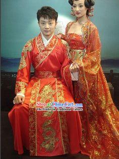 Chinese Traditional Dragon Wedding Dress Set for Bridegroom