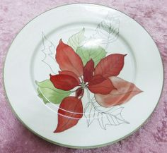"""MARY LOU GOERTZEN watercolors Block Spal 8"""" white w/leaves plate from Portugal Watercolor, Cool Stuff, Leaf Plates, Holiday, Poinsettia, Tableware, Plates, Home Decor"""