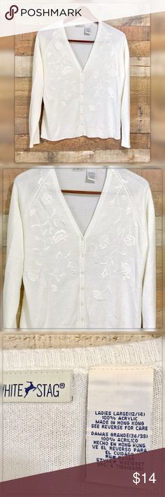 """Women's L White Embroidered Cardigan Pit to pit measures 25"""" Length 26.5"""" Gently Used with no flaws White Stag Sweaters Cardigans"""