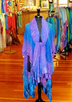 New! African Violet Hand Painted Silk Ruana  Ready to Ship by Joyflower, $225.00