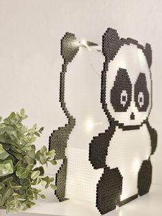 Panda Light 🐼 | crumbsbytanja Hama 3d, Diy Perler Beads, Perler Bead Art, 3d Paper Crafts, Crafts To Do, Bead Crafts, Diy Crafts, Hama Beads Patterns, Beading Patterns