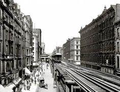 CHICAGO – WABASH AVE – ELEVATED TRAIN – WAGON – PEDESTRIANS – NICE BUILDING FACADES – c1910
