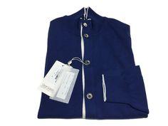 GRANSASSO cardigan uomo blu chiaro con contrasti bianco 100% cotone MADE IN ITALY