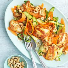 Carrot, courgette and halloumi salad with ginger and sesame