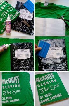 Cuaderno con playera, encuentra más diseños para decorar tus cuadernos aquí..http://www.1001consejos.com/ideas-para-decorar-cuadernos/