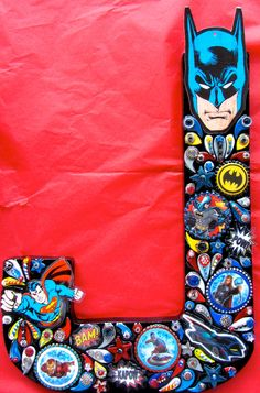 Super Heroes Art. Boys Room Letters Wall Art Decor OOAK by iluvPiC, $150.00