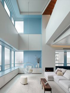 nice. interior design, modern living rooms, blue, white, bubbles, girl style, high ceilings, hanging chairs, san francisco