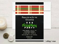PRINTABLE Plaid Chalkboard Holiday Party by HolidayDream on Etsy