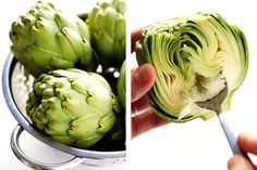 Seriously the most amazing roasted artichokes recipe! They're stuffed with lots of garlic and herbs, seasoned with lots of lemon and black pepper, and roasted to crispy, tender perfection. The perfect vegetable side dish! Easy Appetizer Recipes, Vegetable Recipes, Vegetarian Recipes, Appetizers, Cooking Recipes, Keto Recipes, Roasted Artichoke Recipe, Artichoke Recipes, Roasted Artichokes