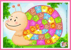 Slakkenspel voor kleuters, free printable / Jeu de société enfant à imprimer Animal Activities, Activities For Kids, Paper Toys, Paper Crafts, Diy For Kids, Crafts For Kids, Online Games For Kids, Game Ui Design, Space Games