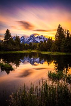 Teton sunset at Schwabacher's by Jordan Edgcomb ~ Grand Teton National Park*