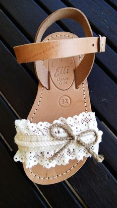 Handmade leather sandals with lace designed by Elli lyraraki Kids Sandals, Cute Sandals, Cute Shoes, Baby Girl Shoes, My Baby Girl, Girls Shoes, Baby Girl Fashion, Kids Fashion, Bridal Flip Flops