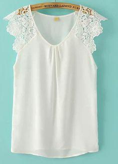 Sweet Lace Splicing Chiffon Sleeveless Blouse - White