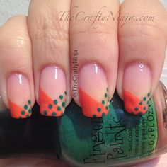 Dot Tape Nails- Green and Orange