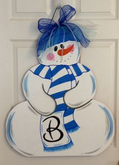 Personalized Snowman MDF Door Hanger