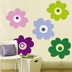 Kleurrijke bloemblaadjes muursticker – EUR € 12.60