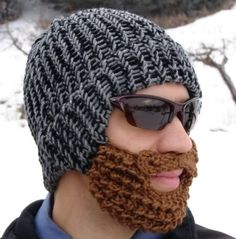 """"""" Black and gray tweed knitted stocking cap with shaggy brown beard and mustache attached. The hat is knitted on a round loom and the brown beard and mustache are hand crocheted. Crochet Beard Hat, Knitted Beard, Knitted Hat, Crochet Beanie, Beard Winter, Winter Hats, Winter Gear, Motifs Beanie, Lumberjack Beard"""