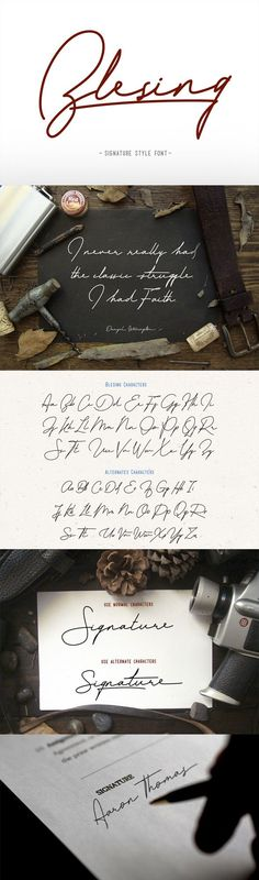 Blesing signature style — OpenType OTF #monoline #poster • Download ➝ https://graphicriver.net/item/blesing-signature-style/19408904?ref=pxcr #Appareldesign