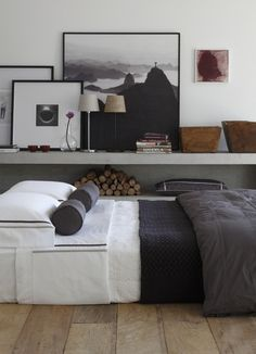 white and charcoal - love the low bed
