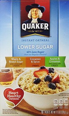 Quaker Instant Oatmeal Lower Sugar Variety 10 pkts  115oz ** Read more reviews of the product by visiting the link on the image. (Note:Amazon affiliate link)
