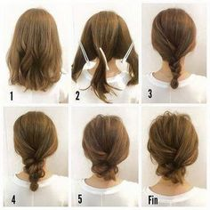 Fashionable Braid Hairstyle for Shoulder Length Hair - Hair Inspiration - Mittellanges Haar Long Bob Hairstyles, Medium Length Hairstyles, Pretty Hairstyles, Hairstyle Ideas, Hairstyle Tutorials, Long Bob Updo, Short Hair Updo Tutorial, Latest Hairstyles, Hairstyles For Medium Length Hair Easy