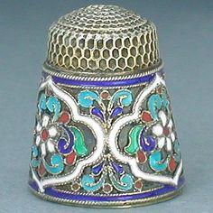 RARE Antique Enameled Pre Revolution Russian Silver Thimble Circa 1890 1900 | eBay