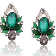 New Arrival Green Gems Stud Crystal Earrings Stunningly chic, these earrings illuminate evening looks. Brand new and good quality. Jewelry Earrings