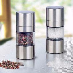 Stainless Steel Manual Grinder Salt / Pepper Shaker Holder (1 Holder)